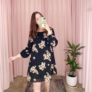 Black and Tan Floral Print Mini Shift Dress